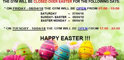gym easter holidays 2018