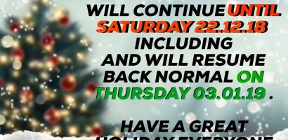 xmas group classes holidays 2018