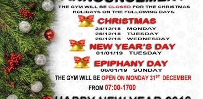 xmas gym holidays 2018
