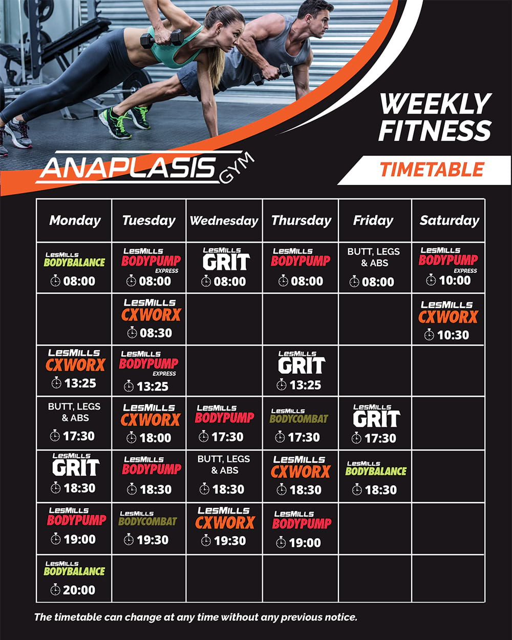 group classes timetable feb 2020