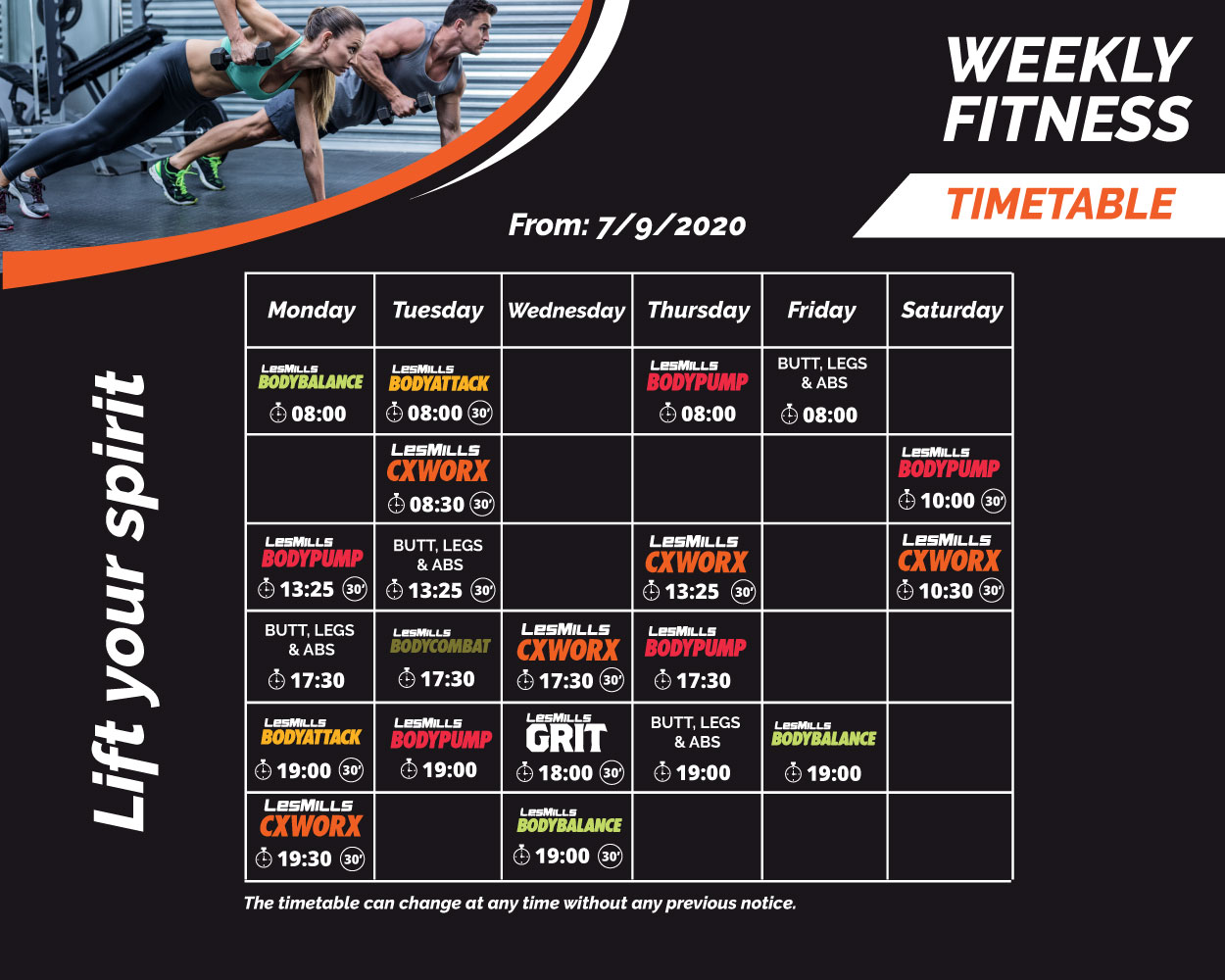 group classes timetable sep 2020