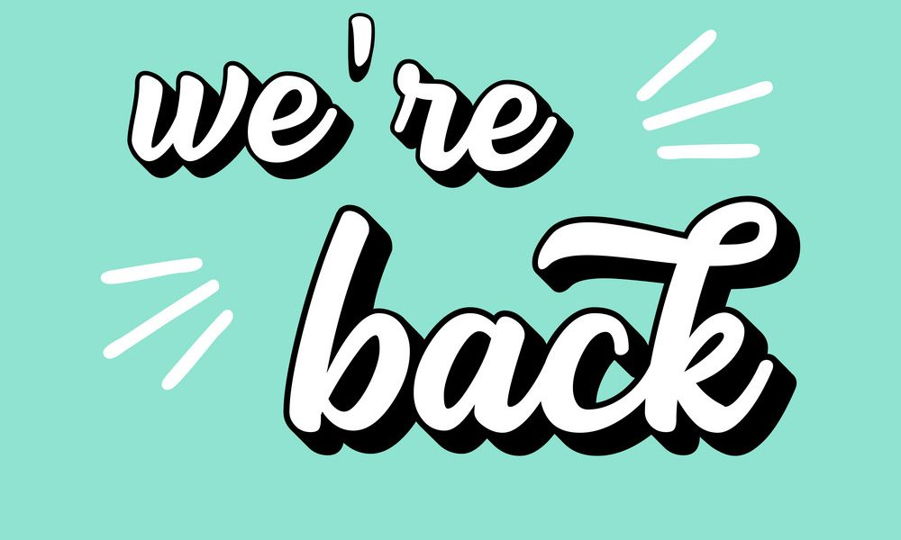 Hand sketched We are back quote. Lettering for poster, label, sticker, flyer, header, card, advertisement, announcement