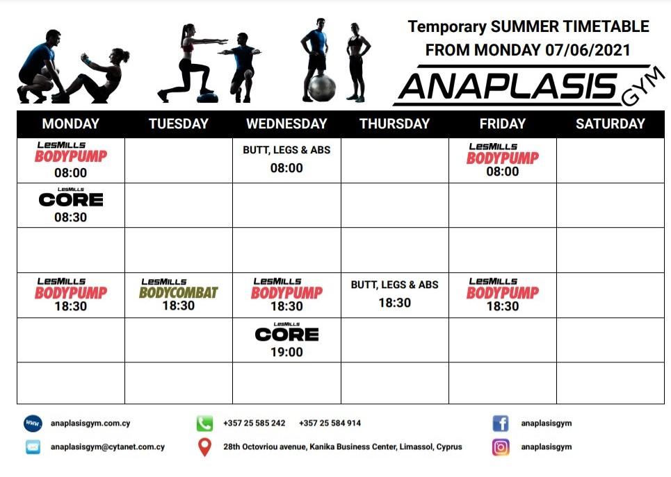 group classes timetable jun 2021